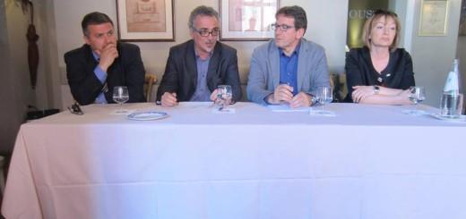Da snx: Alberto Silvestri (San Felice) Maino Benatti (Mirandola), Gian Carlo Muzzarelli e Antonella Baldini (Camposanto)