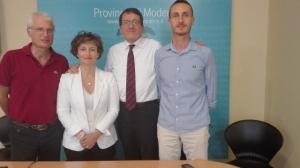 Manni, Rebecchi, Muzzarelli e Borghi in conferenza stampa