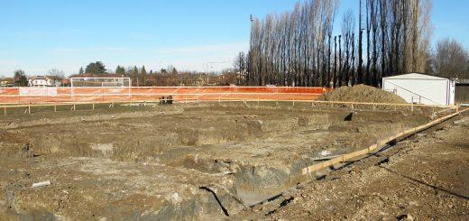 Gli scavi nell'area interessata alla costruzione del centro