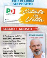 Il presidente della Regione Stefano Bonaccini atteso sabato a San Prospero